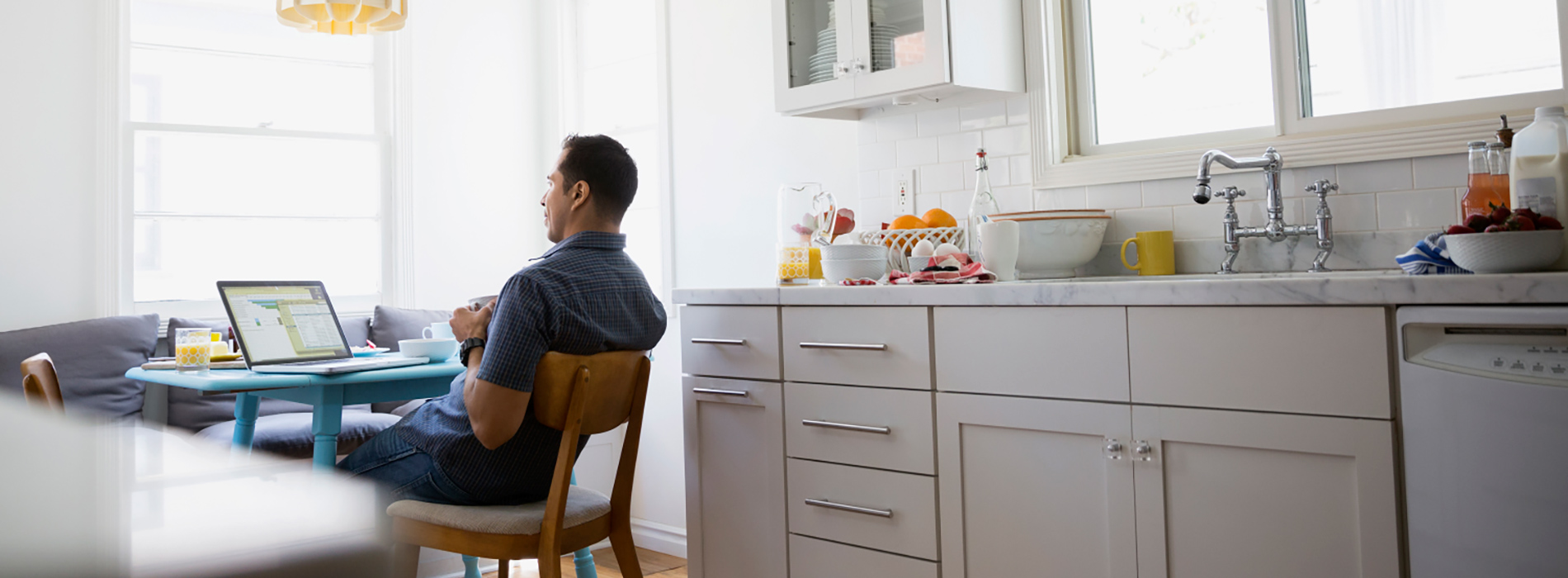 Man working comfortably at home